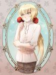 1boy androgynous blonde_hair blush casual green-eyes highres male mizuhara_aki pisces_cardinale ponytail rose saint_seiya saint_seiya:_next_dimension