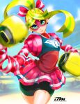 1girl arms_(game) bayeuxman curvy female looking_at_viewer nintendo ribbon_girl_(arms) solo
