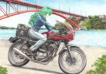 1girl black_gloves blue_sky bridge brown_footwear colored_pencil_(medium) commentary_request day denim from_side gloves green_eyes green_hair ground_vehicle jacket jeans kochiya_sanae lamppost leather leather_gloves leather_jacket lips long_hair looking_to_the_side motor_vehicle motorcycle outdoors pants profile rpracing sky solo touhou traditional_media very_long_hair water yamaha