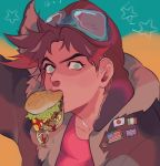 /\/\/\ 1boy american_flag aqua_background aqua_eyes arm_up aviator_cap badge bangs battle_tendency bomber_jacket brown_hair brown_headwear brown_jacket button_badge dripping food goggles goggles_on_headwear hamburger highres holding holding_food italian_flag jacket japanese_flag jojo_no_kimyou_na_bouken jonya joseph_joestar_(young) ketchup looking_at_viewer male_focus mouth_hold parted_bangs red_shirt shirt short_hair solo spiky_hair star_(symbol) two-tone_background union_jack upper_body yellow_background