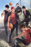 5boys akagi_takenori arm_at_side armband artist_name bag bangs basketball basketball_jersey black_eyes black_footwear black_hair black_pants blue_sky bottle brown_eyes brown_hair buzz_cut chain-link_fence collarbone crossed_arms dated day duffel_bag earrings fence full_body gakuran grey_footwear grin hand_on_own_neck hand_up hands_in_pockets holding holding_bottle holding_clothes holding_jacket jacket jacket_on_shoulders jewelry leaning_on_object leg_up light_smile looking_back male_focus mitsui_hisashi miyagi_ryouta multiple_boys outdoors over_shoulder pants pointing pointing_at_self pompadour red_shirt redhead rukawa_kaede sakuragi_hanamichi school_uniform shirt short_hair sideways_glance sitting sky slam_dunk sleeveless sleeveless_shirt smile standing stone_floor stud_earrings towel tsurime v-shaped_eyebrows wristband zzyzzyy
