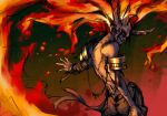 1boy armor bara_(totocos) bare_shoulders burning closed_eyes closed_mouth embers fiery_hair fire gold highres horns long_hair male_focus mask original sketch skull skull_mask solo upper_body very_long_hair