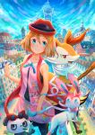 1girl bangs blue_eyes blue_ribbon blush braixen building character_print closed_mouth clouds collarbone commentary_request day eyelashes gen_6_pokemon hair_between_eyes hand_up hat kutsunohito light_brown_hair lumiose_city neck_ribbon outdoors pancham pokemon pokemon_(anime) pokemon_xy_(anime) red_headwear ribbon satoshi_(pokemon) serena_(pokemon) short_hair sky sleeveless smile stick sylveon
