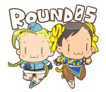 2girls :> :3 animal_ears blush_stickers boots braid cammy_white capcom chibi chun-li english_text holding_hands lowres multiple_girls nanboku smile street_fighter tiger_ears twin_braids |_|