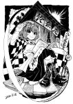 1girl apron blackcat_(pixiv) book boots character_name checkered checkered_kimono cross-laced_footwear crossed_legs dated eyebrows_visible_through_hair greyscale hair_between_eyes japanese_clothes kimono lace-up_boots long_sleeves looking_at_viewer monochrome motoori_kosuzu no_smoking short_hair smile solo touhou translation_request