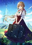 1girl :d absurdres aqua_eyes bangs blonde_hair blue_sky castle clouds collarbone commentary dress elran fantasy grass hair_blowing hair_ribbon highres holding holding_suitcase huge_filesize jewelry long_hair necklace open_mouth original outdoors petals red_dress ribbon shirt sidelocks sky smile solo standing stone suitcase white_shirt