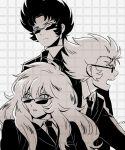 3boys cancer_deathmask capricorn_shura highres male mizuhara_aki pisces_aphrodite posing saint_seiya