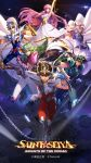 1girl 5boys andromeda_shun armor bare_shoulders black_hair blonde_hair blue_hair brown_hair chains cygnus_hyoga dragon_shiryu dress fighting full_armor green_armor green_hair han-0v0 highres jumping long_hair looking_at_viewer medium_hair mobile_wallpaper night official_art pegasus_seiya phoenix_ikki pink_armor posing poster purple_hair saint_seiya saint_seiya:_awakening scepter shining_armor short_hair silver_armor starry_sky vertical wallpaper
