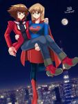 blonde_hair blue_shirt blush brown_eyes brown_hair cape carrying city cityscape couple cute dc_comics gold_eyes happy long_hair multicolored_hair night red_cape short_hair sincity2100 stars supergirl superhero symbol tenjouin_asuka yellow_eyes yuu-gi-ou yuu-gi-ou_gx yuuki_juudai
