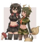2girls american_bison_(kemono_friends) animal_ears arm_at_side armor armored_skirt arms_at_sides aurochs_(kemono_friends) big_hair black_eyes black_hair black_legwear breastplate brown_eyes brown_hair brown_legwear camouflage camouflage_shirt camouflage_skirt collared_shirt cow_ears cow_girl cow_horns cow_tail cropped_shirt elbow_gloves empty_eyes extra_ears eyebrows_visible_through_hair gauntlets gloves green_hair hair_between_eyes hand_on_hip height_difference holding holding_weapon horizontal_pupils horn_lance horns kemono_friends long_sleeves looking_at_another medium_hair midriff miniskirt multicolored_hair multiple_girls navel necktie open_mouth pantyhose polearm print_shirt print_skirt red_neckwear shirt short_over_long_sleeves short_sleeves shoulder_armor side-by-side skirt smile stomach tail tan tatsuno_newo thigh-highs toned upper_teeth v-shaped_eyebrows weapon wing_collar zettai_ryouiki