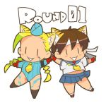 2girls :> ahoge animal_ears blonde_hair blue_leotard blue_sailor_collar braid cammy_white capcom chibi english_text garrison_cap hat headband holding_hands huge_ahoge kasugano_sakura leotard lowres multiple_girls nanboku sailor_collar school_uniform serafuku smile street_fighter street_fighter_zero_(series) tiger_ears twin_braids |_|