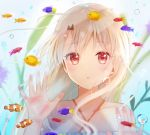 1girl :o against_glass air_bubble animal blush bubble collarbone commentary_request criss-cross_halter dress face fate/kaleid_liner_prisma_illya fate_(series) fish fish_tank halterneck hands_up illyasviel_von_einzbern long_hair looking_at_viewer nasii parted_lips plant red_eyes solo