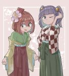 2girls 5alive bangs bell blunt_bangs brown_eyes brown_hair closed_mouth commentary_request cosplay costume_switch eyebrows_visible_through_hair flower hair_bell hair_between_eyes hair_flower hair_ornament hakama hieda_no_akyuu highres japanese_clothes kimono long_sleeves looking_at_viewer motoori_kosuzu multiple_girls open_mouth purple_hair short_twintails smile standing touhou twintails violet_eyes wide_sleeves