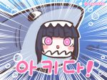 1girl architect_(girls_frontline) black_hair blush chibi chuo8008 commentary_request emphasis_lines eyebrows_visible_through_hair face girls_frontline korean_commentary korean_text sangvis_ferri shark_costume solo translation_request triangle_mouth twitter_logo twitter_username violet_eyes
