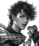 1boy battle_tendency cdash817 face fingerless_gloves gloves greyscale jojo_no_kimyou_na_bouken joseph_joestar_(young) looking_at_viewer male_focus monochrome portrait scarf simple_background solo striped upper_body watermark white_background