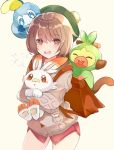 1girl backpack bag bangs blush bob_cut brown_eyes brown_hair bug butterfly cardigan commentary_request cowboy_shot dress gen_8_pokemon green_headwear grey_cardigan grookey highres holding holding_pokemon insect long_sleeves looking_at_viewer mikan_no_shiru on_head open_mouth pink_dress pokemon pokemon_(creature) pokemon_(game) pokemon_on_head pokemon_swsh scorbunny short_hair sobble starter_pokemon starter_pokemon_trio tam_o'_shanter teeth tongue upper_teeth yuuri_(pokemon)