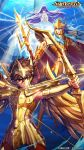 1girl 2boys arrow athena_(saint_seiya) blue_eyes blue_hair bow_(weapon) bow_and_arrow bronze_saint brown_eyes brown_hair cape eyes_closed floating_hair full_armor gold_saint golden_armor greek_columns han-0v0 helmet highres julian_solo kido_saori logo long_hair mobile_wallpaper pegasus_seiya poseidon_(saint_seiya) poster praying purple_hair saint_seiya saint_seiya:_awakening serious shining_armor short_hair tiara trident underwater wallpaper water