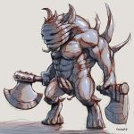 1boy axe bara_(totocos) borrowed_character bra derivative_work dual_wielding grey_bra greyscale hatching_(texture) highres holding holding_axe horns male_focus monochrome monster nipples original shiny shiny_skin signature simple_background sketch solo spikes standing teeth underwear