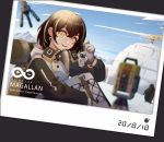 1girl :d arknights backpack bag bangs brown_hair camill character_name chromatic_aberration commentary_request drone gloves hair_between_eyes highres igloo jacket keychain long_sleeves looking_at_viewer magallan_(arknights) multicolored_hair open_mouth partial_commentary photo_(object) raglan_sleeves rhine_lab_logo short_hair smile snow_shelter solo streaked_hair the_emperor_(arknights) upper_body white_gloves white_hair white_jacket yellow_eyes