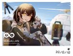 1girl :d arknights backpack bag bangs brown_hair camill character_name chromatic_aberration commentary_request drone gloves hair_between_eyes highres igloo jacket keychain long_sleeves looking_at_viewer magallan_(arknights) multicolored_hair open_mouth partial_commentary raglan_sleeves rhine_lab_logo short_hair smile snow_shelter solo streaked_hair the_emperor_(arknights) upper_body white_gloves white_hair white_jacket yellow_eyes