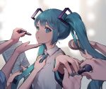 1girl absurdres adjusting_clothes adjusting_necktie azit_(down) black_sleeves blue_eyes blue_hair blue_nails blue_neckwear blurry blurry_background brushing_another's_hair collared_shirt commentary_request depth_of_field detached_sleeves hair_brush hatsune_miku highres holding holding_brush holding_lipstick_tube lipstick_tube long_hair long_sleeves nail_polish necktie out_of_frame parted_lips sheet_music shirt sleeveless sleeveless_shirt solo_focus tie_clip twintails upper_body vocaloid white_shirt wide_sleeves