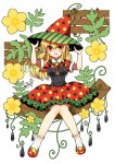 1girl absurdres blonde_hair collared_dress dress earrings flower food frilled_skirt frills fruit full_body hair_between_eyes hands_on_headwear hat highres jewelry knees_together_feet_apart long_hair murasaki_daidai_etsuo open_mouth original personification plant polka_dot polka_dot_dress red_eyes short_sleeves sitting skirt smile socks solo twitter_username vines watermelon watermelon_seeds witch_hat yellow_flower zipper_pull_tab