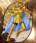 1boy armor golden_armor highres leo_aiolia male mizuhara_aki posing saint_seiya solo