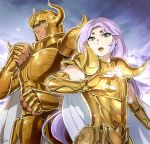 2boys androgynous aries_mu cape fighting_stance fingerless_gloves full_armor golden_armor green_eyes hikimayu long_hair male mizuhara_aki night open_mouth outdoors purple_hair saint_seiya shining_armor size_difference star_(sky) starry_sky taurus_aldebaran