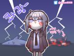 1girl anger_vein blood blood_on_face censored censored_violence chibi chuo8008 commentary_request cowboy_shot dark_background eyebrows_visible_through_hair girls_frontline grey_eyes grey_hair korean_commentary korean_text lightning m200_(girls_frontline) mosaic_censoring necktie shark translation_request twitter_logo twitter_username