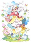 1girl animal_ears apron argyle argyle_legwear artist_name basket bloomers bow bug bunny_girl butterfly carrot_hair_ornament clover commentary_request easter easter_egg egg flower food_themed_hair_ornament four-leaf_clover frills grass hair_ornament highres insect juliet_sleeves long_hair long_sleeves murasaki_daidai_etsuo open_mouth original pink_bow puffy_sleeves rabbit_ears red_eyes red_footwear red_shirt shirt smile socks standing standing_on_one_leg twitter_username underwear waist_apron white_apron white_background white_hair