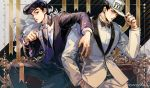 2boys arm_over_shoulder artist_name belt black_background black_hair black_neckwear black_vest blue_eyes bow bowtie closed_mouth diamond_wa_kudakenai dress_shirt earrings feet_out_of_frame formal hand_in_pocket hand_up hat hat_tip heart higashikata_jousuke jacket jewelry jojo_no_kimyou_na_bouken kuujou_joutarou lapel_pin light_smile long_sleeves looking_at_viewer male_focus multiple_boys pants pompadour purple_hair purple_jacket purple_pants purple_suit ribbon shirt short_hair sitting stud_earrings suit two-tone_background upper_body vest violet_eyes white_background white_headwear white_jacket white_neckwear white_pants white_shirt white_suit zzyzzyy