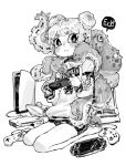 1girl ahoge animal barcode barefoot blush closed_mouth controller double_bun ear_piercing earrings english_text fingernails game_console game_controller greyscale hair_bun handheld_game_console hb_091 highres holding jewelry kneeling looking_back monochrome nintendo_ds nintendo_switch octopus original piercing playing_games playstation_4 playstation_portable qr_code short_eyebrows short_hair simple_background speech_bubble spikes tentacles white_background wii