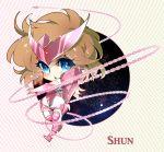 androgynous andromeda_shun armor brown_hair chibi han-0v0 pink_armor saint_seiya