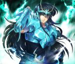 armor artist_request black_hair dragon_shiryu green_armor highres posing saint_seiya