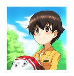 1girl bangs black_gloves blue_sky blurry blurry_background border brown_eyes brown_hair closed_mouth clouds cloudy_sky day depth_of_field eyebrows_visible_through_hair girls_und_panzer gloves helmet holding holding_helmet jumpsuit kayabakoro looking_to_the_side mechanic motorcycle_helmet nakajima_(girls_und_panzer) name_tag orange_jumpsuit outdoors portrait shirt short_hair sky smile solo tree uniform white_border white_headwear white_shirt