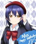 1girl argyle argyle_background beret birthday blue_hair blush dated hand_in_hair happy_birthday hat highres long_hair long_sleeves looking_to_the_side love_live! love_live!_school_idol_project neck_ribbon red_headwear ribbon smile solo sonoda_umi tsubuan_(in_taiyaki) yellow_eyes
