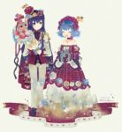 1boy 1girl ahoge androgynous bare_shoulders blue_eyes blue_hair borrowed_character bouquet box cape choker closed_eyes crown dress floral_print flower gift gift_box head_wreath heterochromia highres holding holding_bouquet holding_gift jewelry kamal_(pixiv_fantasia) long_hair mini_crown necklace off-shoulder_dress off_shoulder open_mouth pixiv_fantasia pixiv_fantasia_4 pointy_ears purple_hair ribbon short_hair smile strapless strapless_dress sumisu_(rinsumi) yellow_eyes