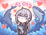 1girl animal blush_stickers chibi chuo8008 commentary_request girls_frontline grey_eyes grey_hair heart heart_background holding holding_animal korean_commentary korean_text long_hair m200_(girls_frontline) pink_background ponytail shark smile translation_request twitter_logo twitter_username water