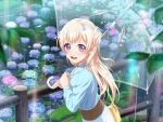 bang_dream! blonde_hair blush dress long_hair pink_eyes shirasagi_chisato smile umbrella