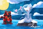 artist_name chin_rest clouds commentary creature fangs full_moon gen_7_pokemon hand_on_own_cheek incineroar looking_at_another moon music musical_note night night_sky no_humans ocean open_mouth outdoors pokemon pokemon_(creature) primarina rock seyana_(seyanaillust) sharp_teeth singing sitting sky star_(sky) starry_sky starter_pokemon teeth