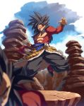 2boys black_footwear black_hair black_pants blurry blurry_foreground circlet clenched_hands clenched_teeth depth_of_field dragon_ball dragon_ball_gt flying fur hand_up highres long_hair monkey_tail multiple_boys pants pillar puffy_pants red_eyes sanpaku sash solo_focus son_gokuu spiky_hair super_saiyan super_saiyan_4 tail tasaka_shinnosuke teeth vegeta waist_cape wristband