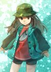1girl bike_shorts blue_(pokemon) brown_hair buttons camouflage_headwear closed_mouth commentary_request cowboy_shot eyelashes green_jacket grey_eyes hat highres jacket long_hair long_sleeves meru_(merumumu) official_alternate_costume pokemon pokemon_(game) pokemon_masters red_shirt shirt smile solo