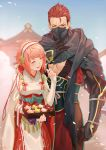 1boy 1girl =_= arm_at_side armor artist_name black_scarf blurry blurry_background blush cloak closed_eyes commentary_request cowboy_shot elbow_gloves fingerless_gloves fire_emblem fire_emblem_fates flying_sweatdrops food gloves hair_slicked_back hairband hand_on_own_chest hand_up highres holding holding_food iroha_(akei0710) japanese_armor japanese_clothes kimono kote looking_at_another mask medium_hair ninja ninja_mask one_eye_closed open_mouth pagoda pink_hair red_eyes redhead saizo_(fire_emblem) sakura_(fire_emblem) scar scar_across_eye scarf short_hair smile sweatdrop white_cloak white_gloves white_kimono