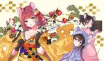3girls :d animal_costume animal_ears arrow_(projectile) bamboo bangs beige_background bell black_gloves black_hair blue_eyes branch brown_hair brown_kimono checkered checkered_obi cheese chinese_zodiac commentary_request doukyuusei_(hanekoto) ema eyebrows_visible_through_hair flower food food_themed_clothes furisode gloves hair_ornament hamaya hanekoto head_tilt highres holding holding_arrow hood hood_down hood_up imouto_(hanekoto) japanese_clothes jingle_bell kadomatsu kanzashi kimono long_sleeves looking_at_viewer mouse_costume mouse_ears mouse_hood multiple_girls new_year obi open_mouth original osananajimi_(hanekoto) osechi parted_lips photoshop_(medium) red_eyes red_flower sash side_ponytail smile solo tree_branch tsumami_kanzashi twintails twitter_username upper_body whisker_markings wide_sleeves year_of_the_rat