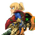1girl 33dot arm_cannon blonde_hair blue_eyes english_commentary from_side highres looking_ahead metroid ponytail power_armor samus_aran solo weapon zero_suit