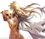 1boy aries_shion armor blonde_hair cape fingerless_gloves from_behind full_armor gold_saint golden_armor helmet long_hair male saint_seiya shining_armor simple_background vulpese white_background