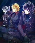 3boys artist_request black_hair blonde_hair garuda_aiacos gloves grey_hair griffon_minos long_hair male military military_uniform ponytail saint-seiya sideburns sitting tie turtleneck wyvern_radamanthys