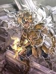 1boy armor brown_hair from_above full_armor golden_armor leo_aiolia male red_eyes saint_seiya walking