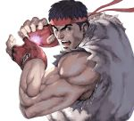 1boy abs bara bare_shoulders black_hair brown_hair chest dougi facial_hair fighting_stance fingerless_gloves gloves glowing hadouken headband male_focus muscle nt_(gun-ash) pectorals ryuu_(street_fighter) short_hair shouryuuken solo street_fighter street_fighter_ii_(series) tatsumaki_senpuukyaku uppercut