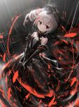 1girl bangs bare_shoulders black_dress black_gloves blood bloody_knife bronya_zaychik closed_mouth commentary_request dress elbow_gloves eyebrows_visible_through_hair gloves grey_hair hair_between_eyes highres holding holding_knife honkai_(series) honkai_impact_3rd jell_(jell_y_fish) knife looking_at_viewer multicolored_hair rain red_eyes redhead side_ponytail sidelocks solo strapless strapless_dress streaked_hair two-handed